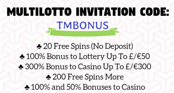 Multilotto Bonuskoodi 2018: TMBONUS