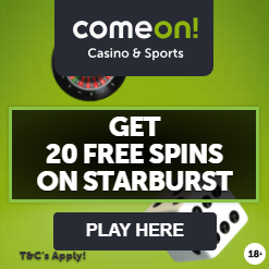 ComeOn! Casino UK Offer - Get 20 free spins on Starburst